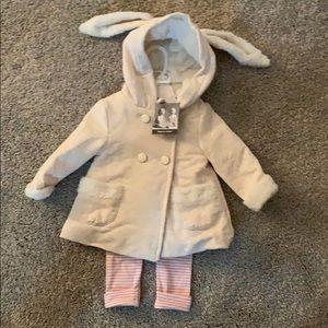 Leggings and jacket set, bunny ears on hood